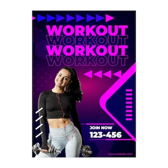 Workout a5 flyer template with photo