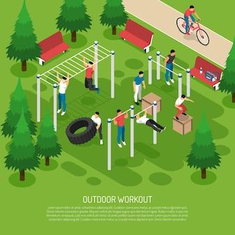 Тренировки на спортивном снаряжении с прыжками с подъёма колес, подтягивания в летнем парке изометрии