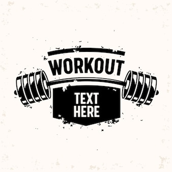 Workout banner with barbell, creative bodybuilding and fitness motivation concept.