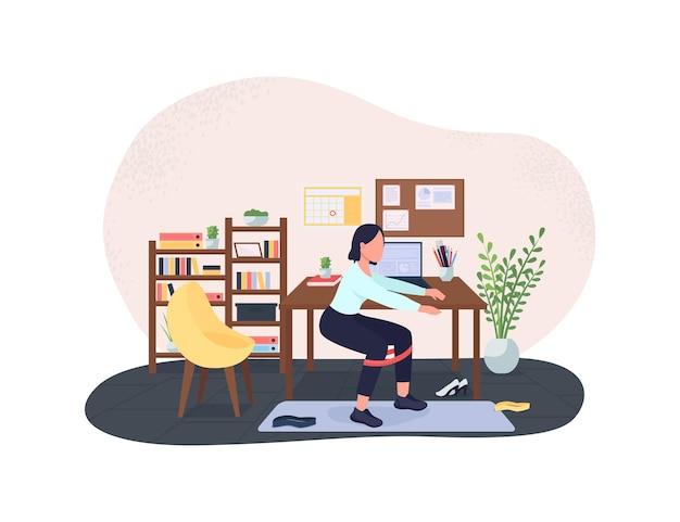Workout break at workplace 2d illustration