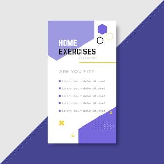 Workout checklist instagram story