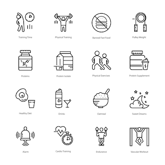Workout and diet plan icons bundle