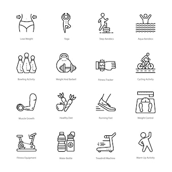 Workout and diet plan icons set