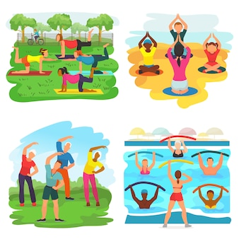 Workout exercise vector active people exercising with trainer in sportive group in park illustration set