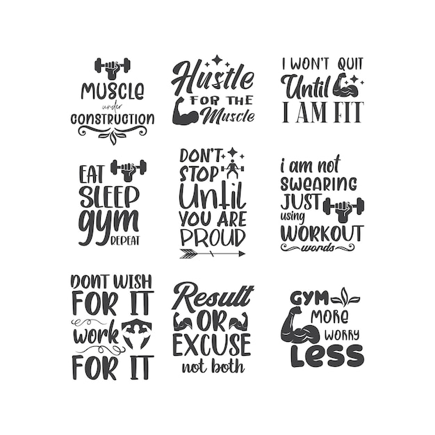 Workout gym quotes lettering typography