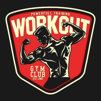 Workout gym retro badge