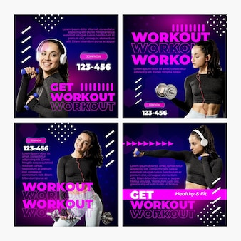 Workout instagram posts template with photo