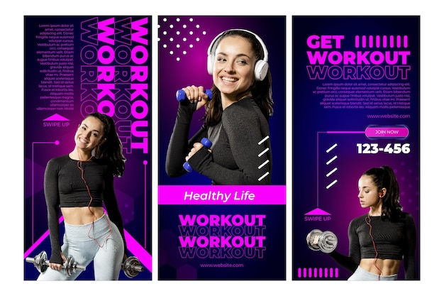 Workout instagram stories template with photo