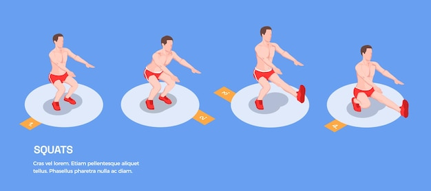 Persone isometriche di allenamento con figure isolate di atleta maschio