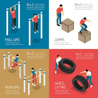 Workout at sports street equipment jumps and wheel lifting isometric  concept isolated