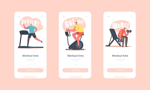 운동 시간 모바일 앱 페이지 온보드 화면 템플릿. 체육관에서 캐릭터 훈련. 스포츠맨 스포츠우먼 캐릭터