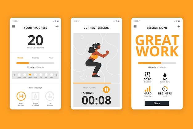 Workout tracker app interface