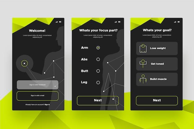 ワークアウトトラッカーアプリの画面