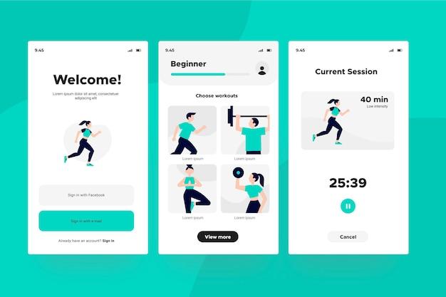 Workout tracker app screens