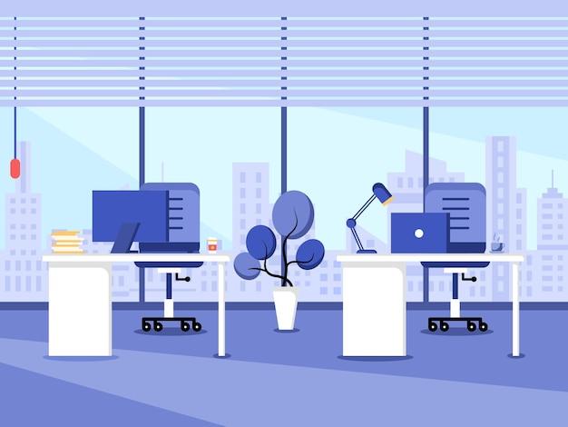 작업 공간 및 작업 스테이션 평면 디자인 작업 책상 또는 가구가 있는 사무실 인테리어의 개념 컴퓨터 데스크탑 테이블 의자 및 고정 장비가 있는 현대적인 사무실 공간