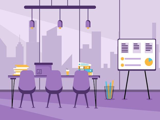 Рабочее место и плоский дизайн рабочего места концепция рабочего стола или офисного интерьера с мебелью современная офисная комната с компьютерным настольным стулом и стационарным оборудованием
