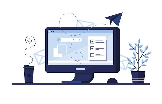집이나 사무실의 직장에서 컴퓨터 사이트에 대한 신청서와 함께. 푸른