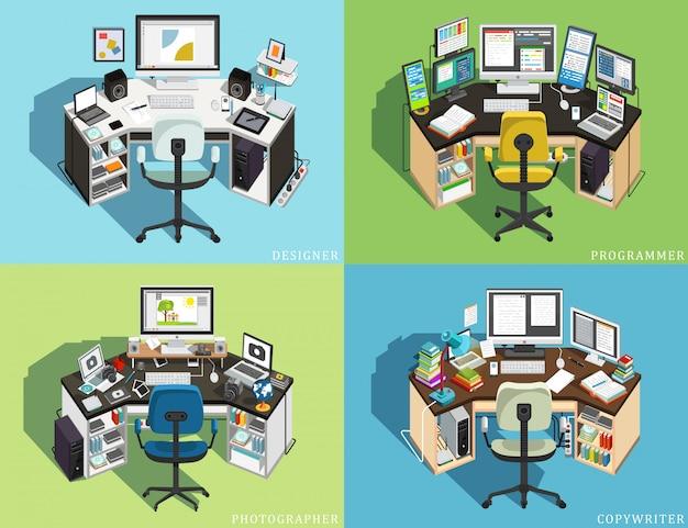 Рабочее место за компьютером разных профессий. программист, дизайнер-фотограф, копирайтер. иллюстрация