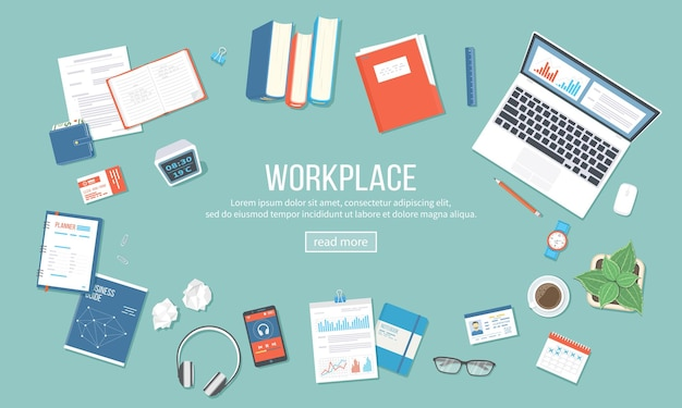 Workplace background top view of table with supplies laptop books documents folder notepad