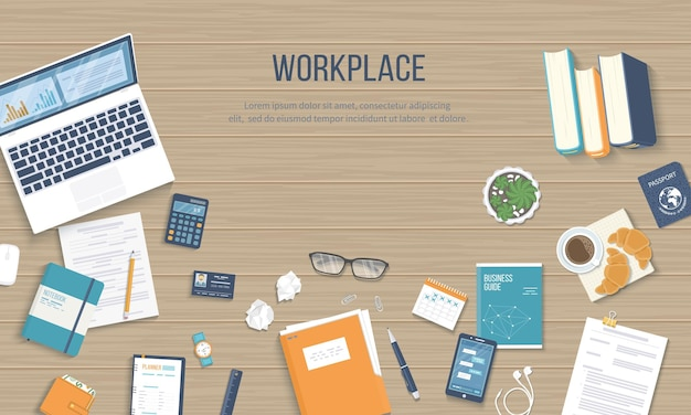 Workplace background top view of a wooden table with laptop books documents vector illustration