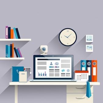 ノートパソコンと職場の背景