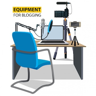 Workplace for blogger, equipment for blogging