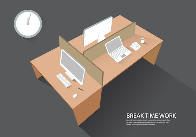 Workplace computer table perspective view modern