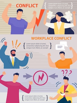 Workplace conflict between coworkers banner set