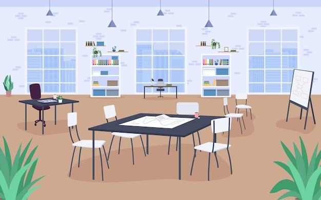 職場のデザインフラットカラー。会議室、勉強。作業環境。ワークベンチ。背景に大きな窓と本棚とオープンオフィススペース2d漫画のインテリア