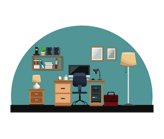 Workplace desk chair computer mirror cabinet book lamp office interior