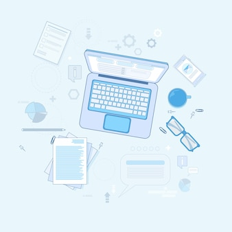 Workplace desk laptop computer notebook coffee top angle view vector illustration