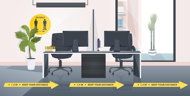 社会的距離の黄色いステッカーコロナウイルスの流行保護対策の兆候のある職場の机