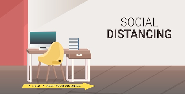 Рабочий стол со знаком желтой стрелки для социального дистанцирования защиты от эпидемии коронавируса