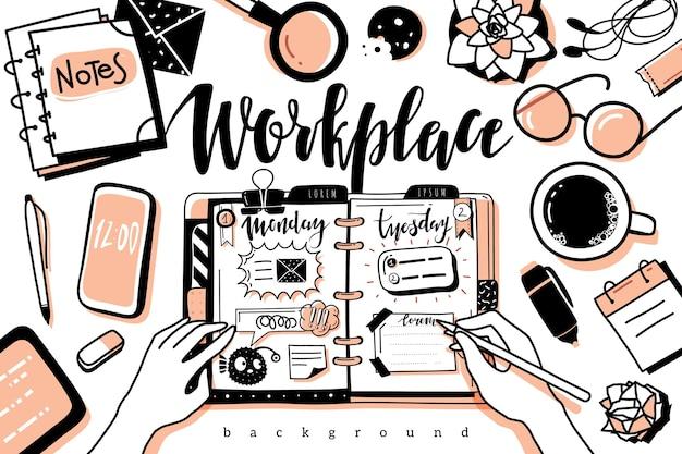 職場のデスクトップの背景の上面図。落書きアウトラインスタイルの職場のデスクトップの背景。上面図の黒い輪郭は、白い背景の上のオフィスの孤立したオブジェクトです。