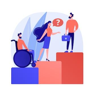 Illustrazione di vettore di concetto astratto di discriminazione sul posto di lavoro. discriminazione nei confronti del dipendente, candidato al lavoro, pari opportunità di lavoro, molestie sessuali, pregiudizio metafora astratta.