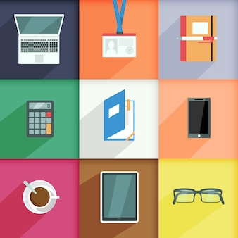 Workplace elements set with computer pass notebook calculator isolated vector illustration