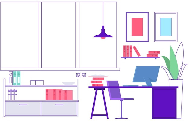 Workplace. empty modern office interior. vacant place, learning classroom or home workspace.