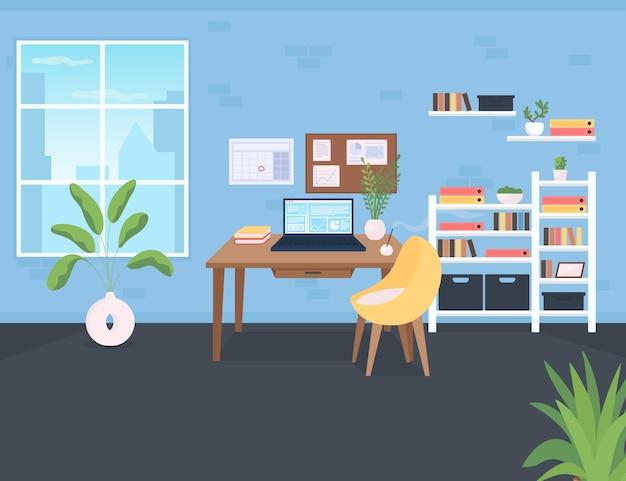 職場のフラットカラーベクトルイラスト。企業の従業員のためのワークスペース。机の上にコンピューターがある部屋。書類付きの棚。背景に窓と棚のあるオフィス漫画のインテリア