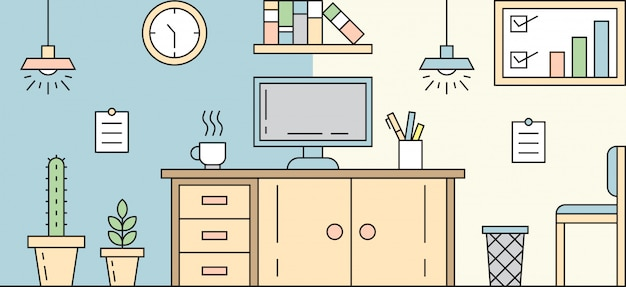Workplace flat line design. simple, flat, and colorful illustration. room concept