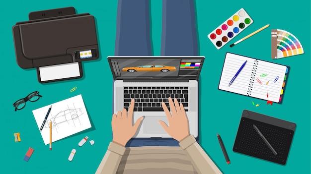 Workplace of freelance designer