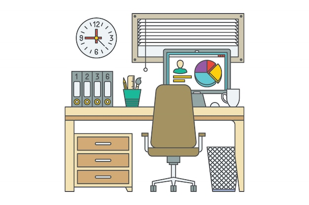Workplace. home office vector illustration. desk with 2 computers. closed window. bookshelf. clock. drawer