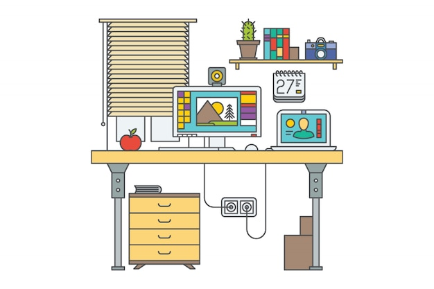 Workplace. home office vector illustration. desk with 2 computers. closed window. bookshelf. drawer. laptop. red apple.