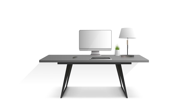 Workplace isolated on a white background. monitor, keyboard, computer mouse, table lamp, houseplant. vector.