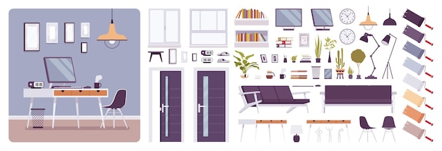 Workplace modern interior, home or office room creation set