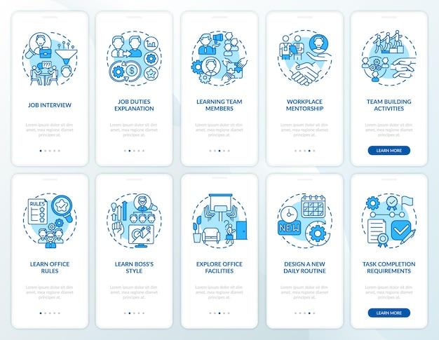 개념이 설정된 멘토링 온 보딩 모바일 앱 페이지 화면의 직장. 학습 팀원은 rgb 색상 삽화가 포함 된 10 단계 ui 템플릿을 안내합니다.