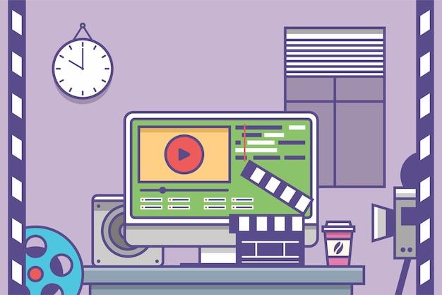 컴퓨터 모니터에서 비디오 및 영화 편집기 인터페이스 소프트웨어 응용 프로그램의 작업장 편집