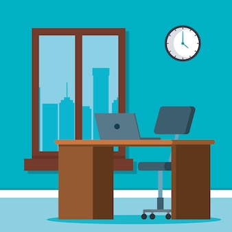 Workplace office scene icons