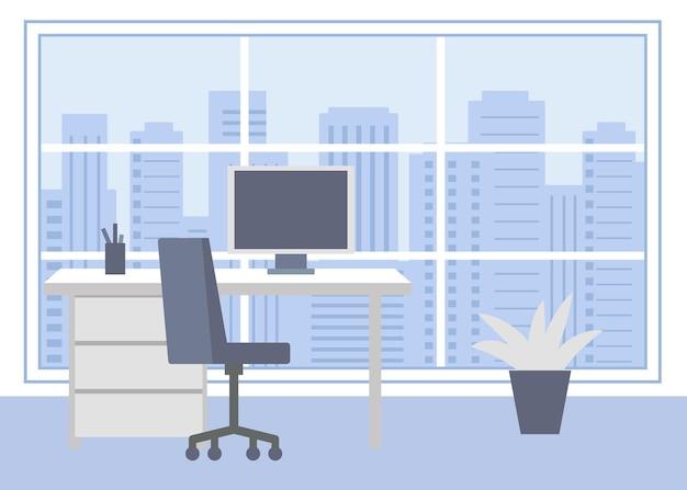 コンピューターのイラストと職場のオフィス