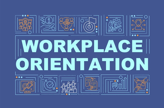 Workplace orientation navy word concepts banner. help new employee. new job adaptation. infographics with linear icons on blue background. isolated typography.   illustration