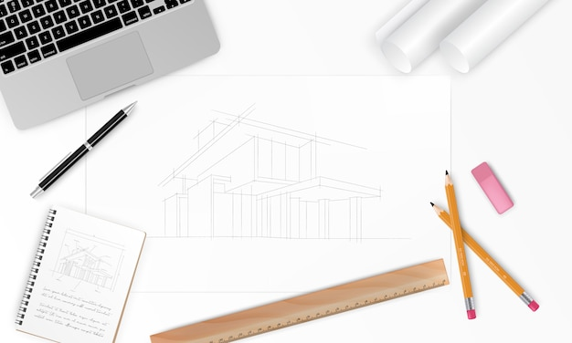 Workplace - realistic construction project architect house plan with tools, laptop and notebook. construction background.  illustration
